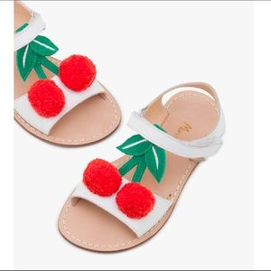 Mini Boden White Leather Cherry Holiday Sandals